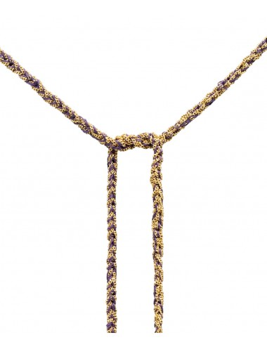 TWIST Necklaces in Sterling Silver 18Kt. Yellow gold plated. Fabric: Purple