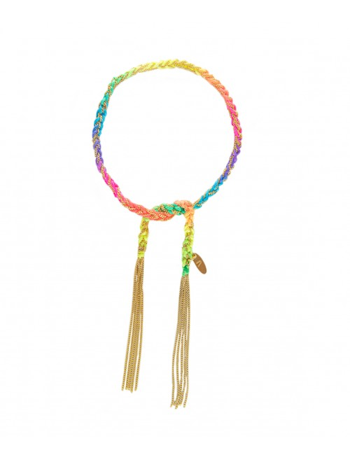 TWIST Bracelet in Sterling Silver 18Kt. Yellow gold plated. Fabric: Multicolor Fluo