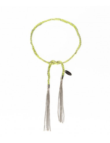 TWIST Bracelet in Sterling Silver Rhodium plated. Fabric: Lime