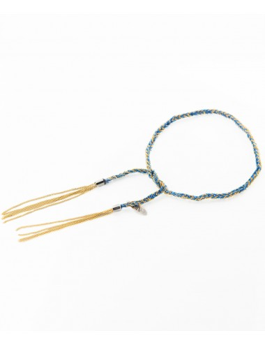 Bracciale TWIST in Argento 925 bagno oro Giallo 18Kt. Tessuto: Seta Blu Cobalto