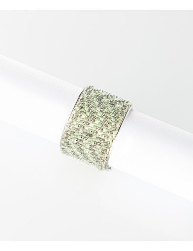 ZIG ZAG Rigid Ring in Sterling Silver rhodium plated 14Kt. Fabric: Silk Aquamarine
