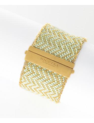 Bracciale ZIG ZAG in Argento 925 bagno oro Giallo 18Kt. Tessuto: Seta Acquamarina