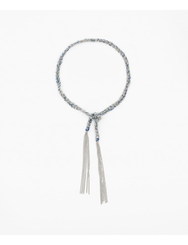 TWIST Bracelet in Sterling Silver Rhodium plated. Fabric: Jeans