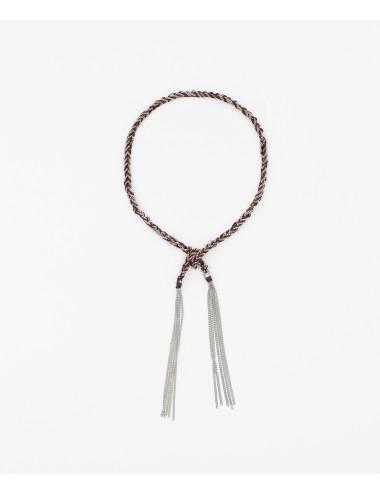 TWIST Bracelet in Sterling Silver Rhodium plated. Fabric: Bordeaux