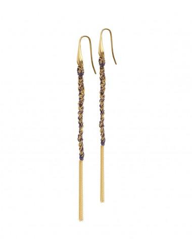 TWIST Earrings in Sterling Silver 18Kt. Yellow gold plated. Fabric: Purple