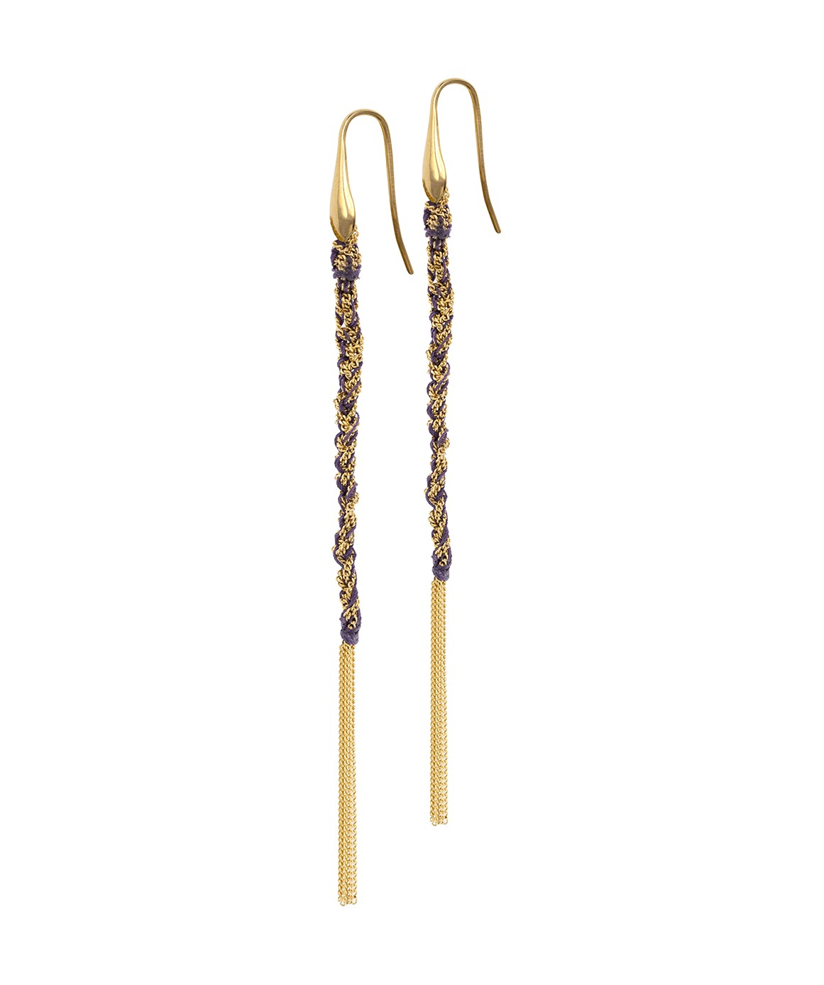 TWIST Earrings in Sterling Silver 18Kt. Yellow gold plated. Fabric: Purple