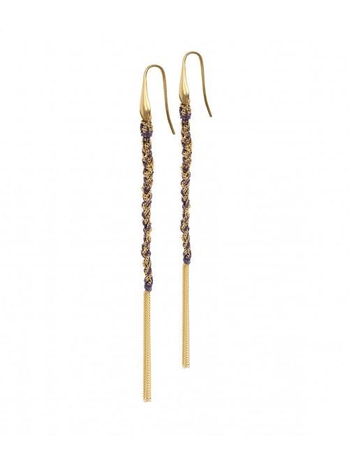 Orecchini TWIST in Argento 925 bagno oro Giallo 18Kt. Tessuto: Seta Viola