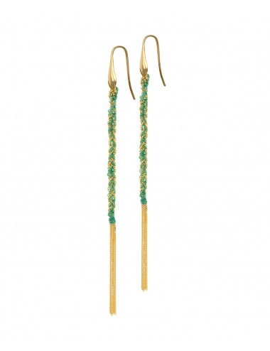 TWIST Earrings in Sterling Silver 18Kt. Yellow gold plated. Fabric: Emerald