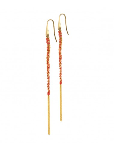 TWIST Earrings in Sterling Silver 18Kt. Yellow gold plated. Fabric: Red