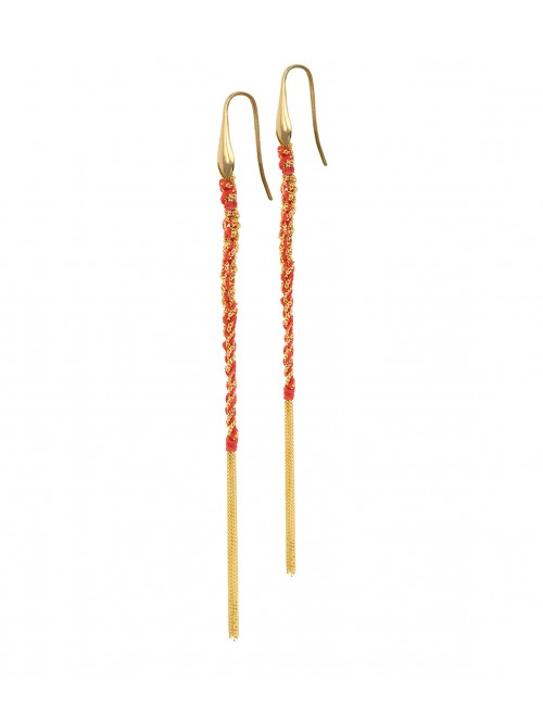 Orecchini TWIST in Argento 925 bagno oro Giallo 18Kt. Tessuto: Seta Rossa