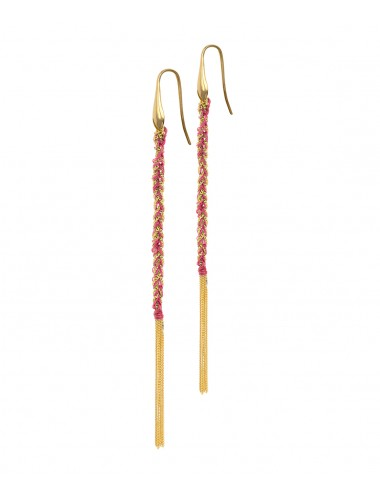 TWIST Earrings in Sterling Silver 18Kt. Yellow gold plated. Fabric: Pink