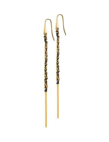 TWIST Earrings in Sterling Silver 18Kt. Yellow gold plated. Fabric: Black