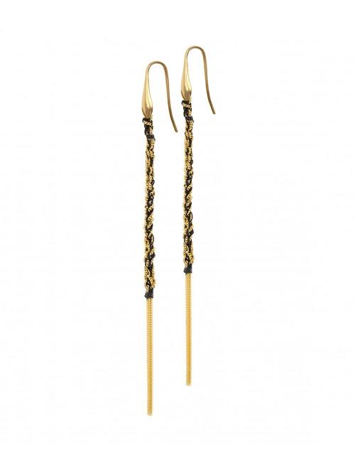 Orecchini TWIST in Argento 925 bagno oro Giallo 18Kt. Tessuto: Seta Nera