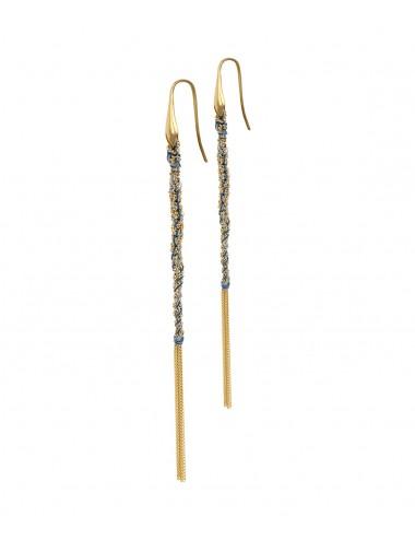 Orecchini TWIST in Argento 925 bagno oro Giallo 18Kt. Tessuto: Seta Jeans