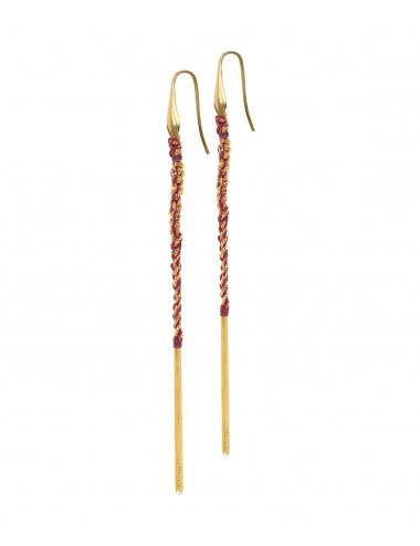 Orecchini TWIST in Argento 925 bagno oro Giallo 18Kt. Tessuto: Seta Bordeaux