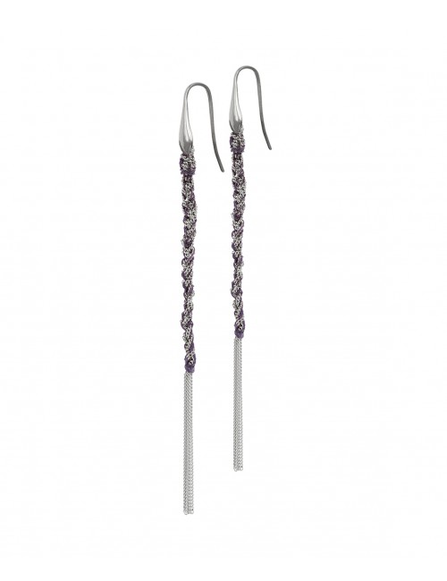 TWIST Earrings in Sterling Silver Rhodium plated. Fabric: Purple