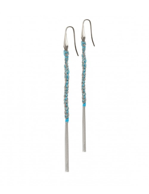 TWIST Earrings in Sterling Silver Rhodium plated. Fabric: Turquoise