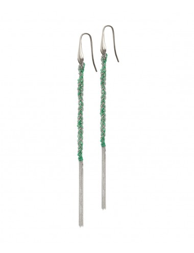 TWIST Earrings in Sterling Silver Rhodium plated. Fabric: Emerald