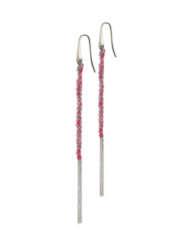 TWIST Earrings in Sterling Silver Rhodium plated. Fabric: Pink