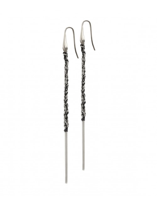 TWIST Earrings in Sterling Silver Rhodium plated. Fabric: Black