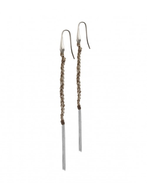 TWIST Earrings in Sterling Silver Rhodium plated. Fabric: Brown