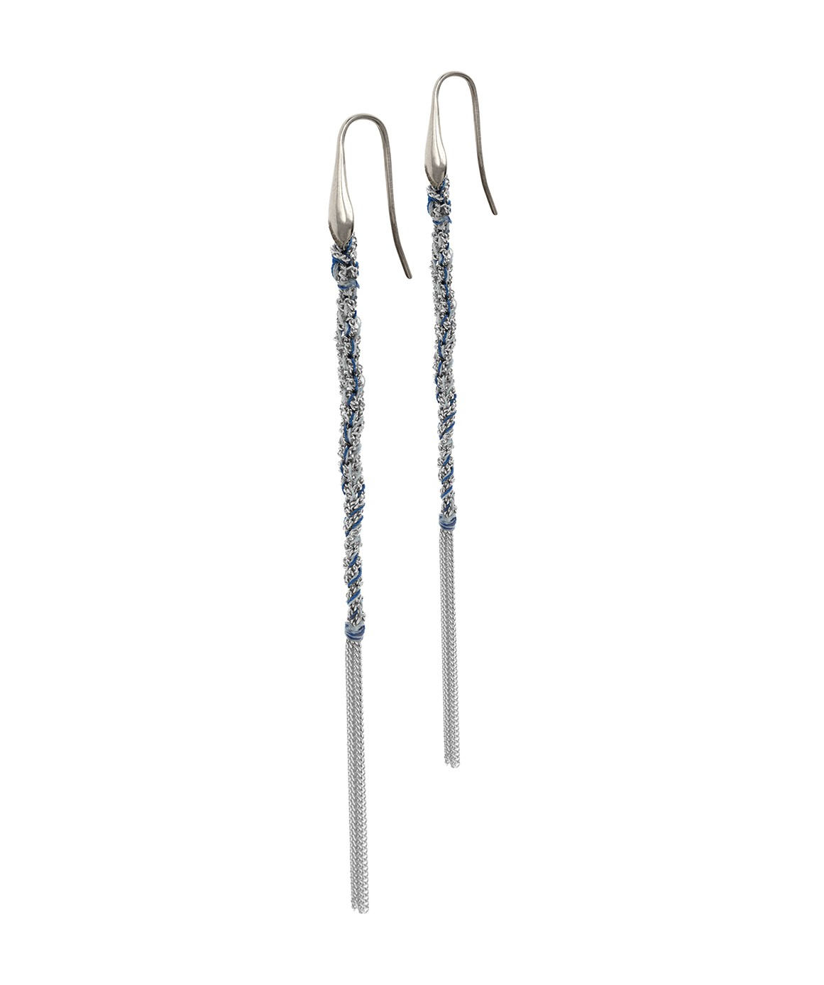 TWIST Earrings in Sterling Silver Rhodium plated. Fabric: Jeans