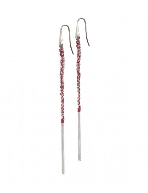 TWIST Earrings in Sterling Silver Rhodium plated. Fabric: Bordeaux