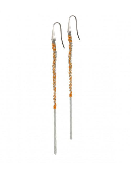 TWIST Earrings in Sterling Silver Rhodium plated. Fabric: Orange