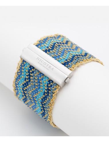 Bracciale ZIG ZAG in Argento 925 bagno oro Giallo 18Kt. Tessuto: Seta Toni di Azzurro