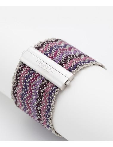 ZIG ZAG Bracelet in Sterling Silver Rhodium plated. Fabric: Silk Shades of Purple